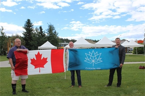 Eglinski, Mackin, and Nelson with New Flags for Green Square