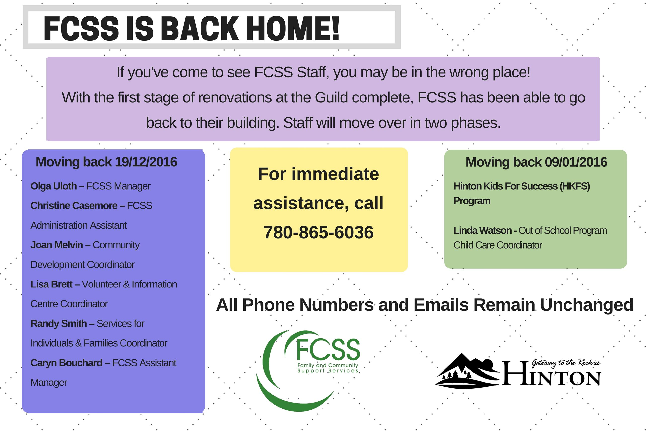 FCSS is home sign