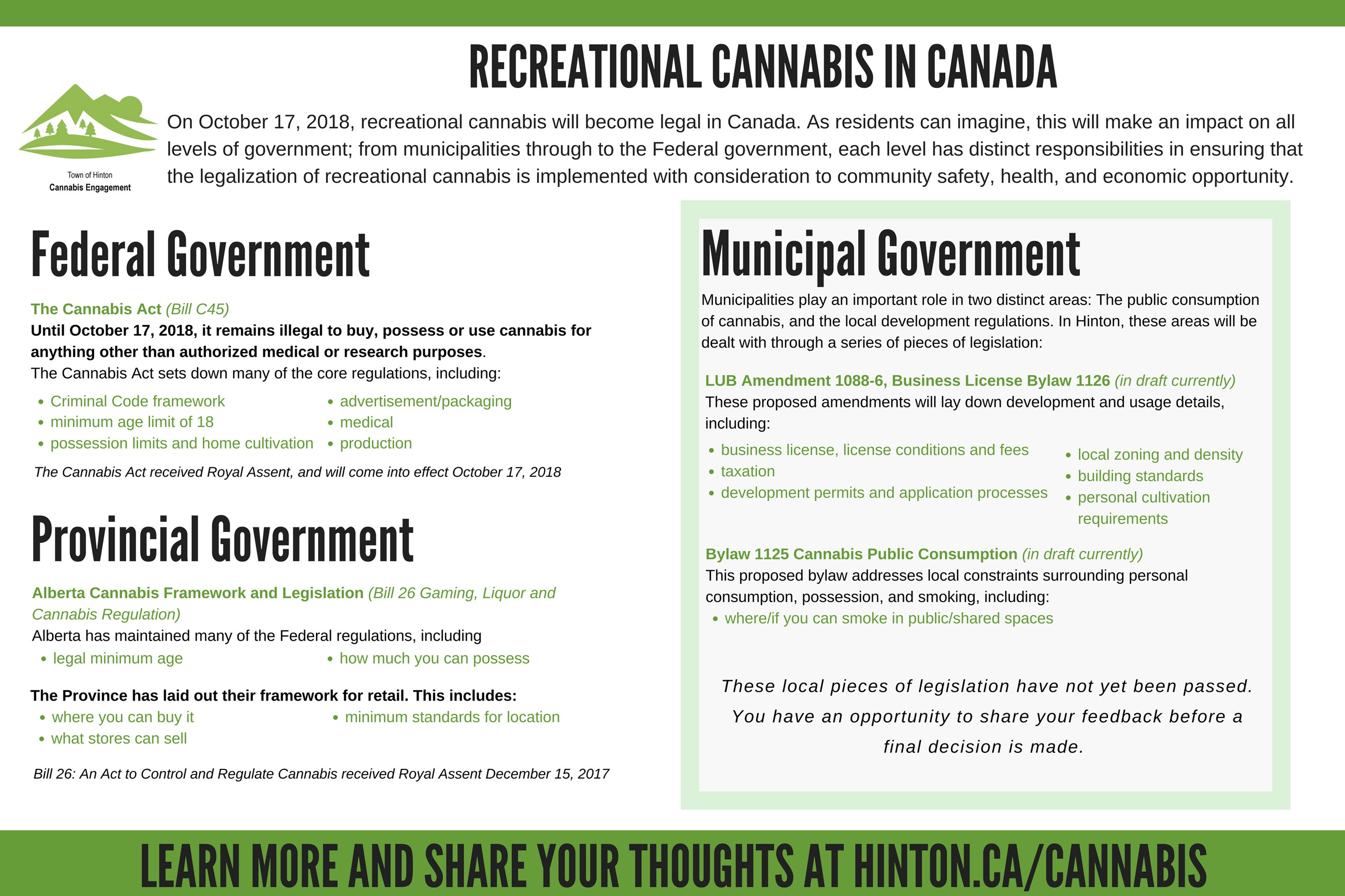 Contains an overview of Cannabis related legislation in effect in Canada