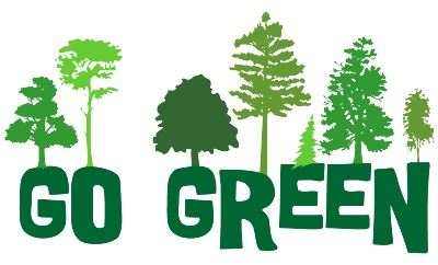 green trees with the words going green