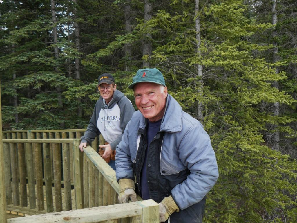 volunteers building the boardwalk