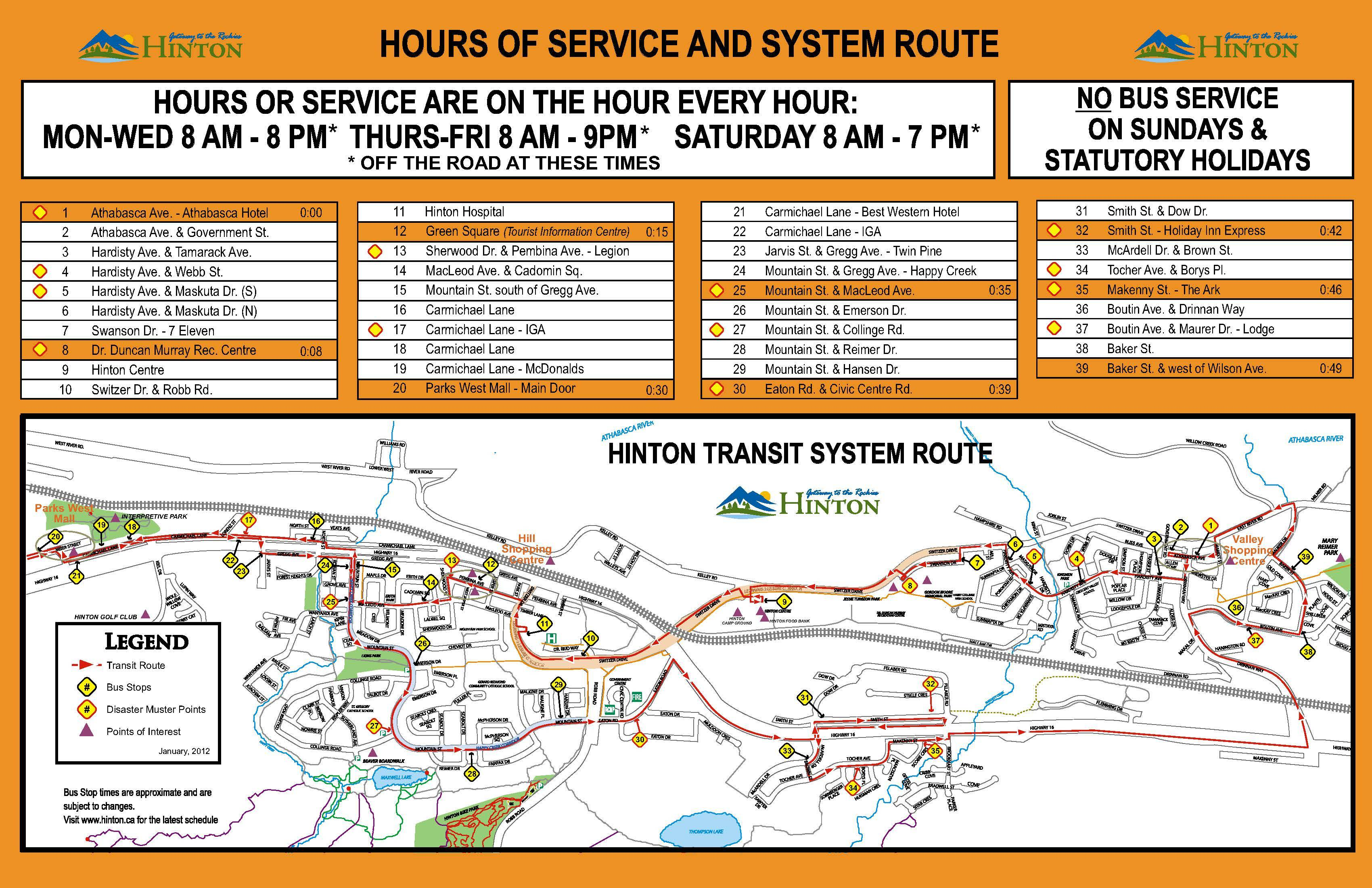 Routes Amp Schedules Hinton Ab Official Website